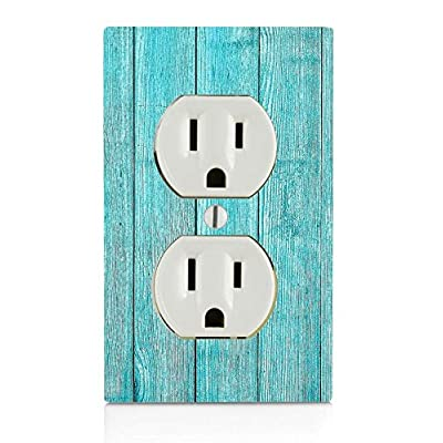 Moonlight Printing Blue Beach Wood Electrical Outlet Plate: Home & Kitchen