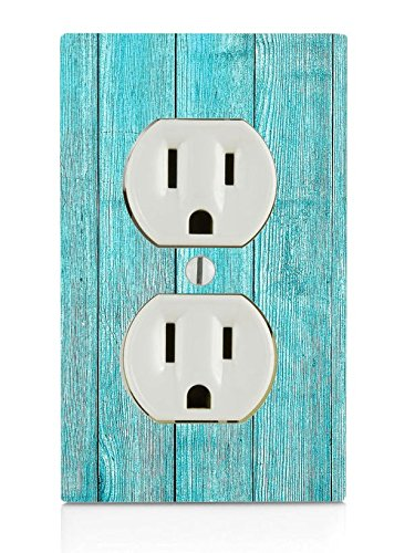 (Blue Beach Wood Electrical Outlet Plate)