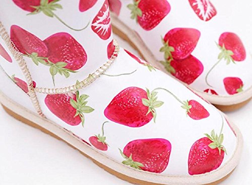 Red lips Sweet Printing Short Tube Snow Boots Leisure Plus Velvet Padded Sleeve Flat Winter Cotton Bootie PICTURECOLOR-39 ddM4QmI
