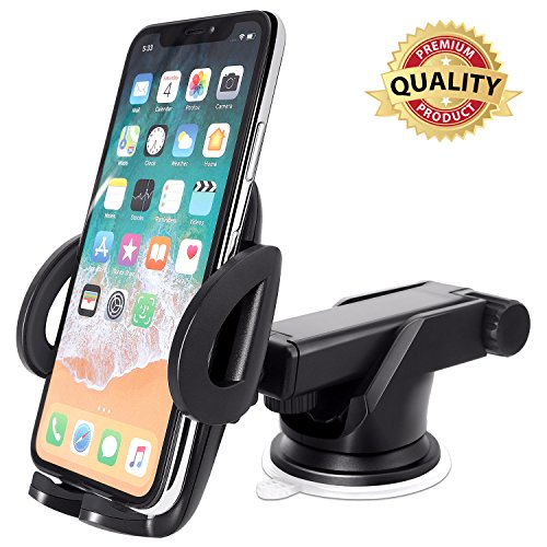 Car Phone Mount, Car Mount, Dashboard & Windshield Phone Holder for Car, Car holder for iPhone X 8 8 Plus 7 7 Plus SE 6s 6 Plus 6 5s 5 4s 4 Samsung Galaxy S6 S5 S4 and More Cell Phone Holder for Car