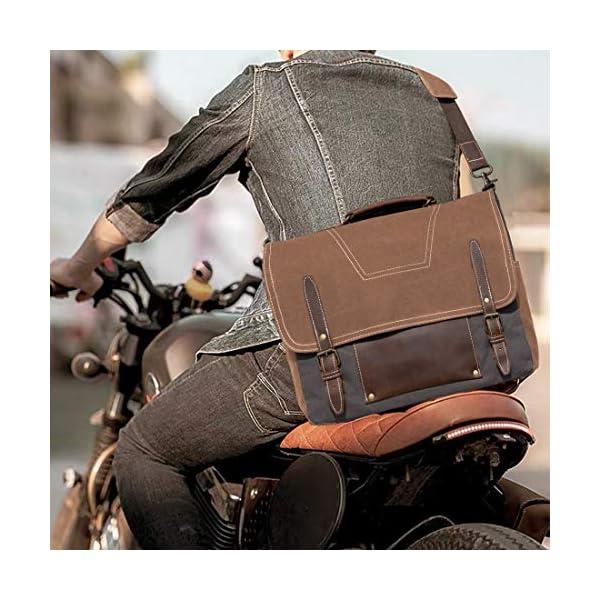 NEWHEY Sac Messenger Homme Sacoches Ordinateur Portable Cuir Vintage Toile Sac à Bandoulière Homme Imperméables Mallette…