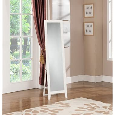 King's Brand Furniture-Laurel Wood Frame Floor Standing Mirror, White