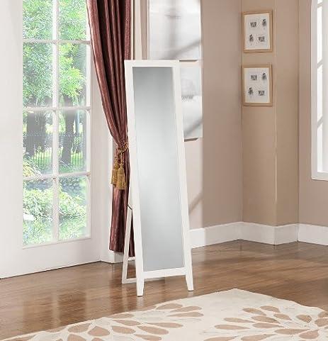 King's Brand M9053-W Furniture-Laurel Wood Frame Floor Standing Mirror, White