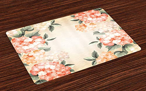 Springs Places Coral (Ambesonne Floral Place Mats Set of 4, Blooming Hydrangea Flowers Leaves Bouquet Vintage Style Spring Nature Print, Washable Fabric Placemats for Dining Table, Standard Size, Salmon Green)