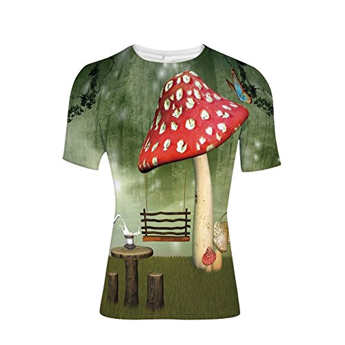 T-Shirt Short Sleeves,Wood Table Poppy Flower Swing Teapot and Milk,Mens Cool 3D Print