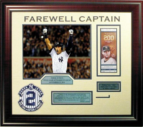 - Derek Jeter Farewell Captain PATCH FINAL GAME FRAMED walk off Photo Ticket collage YANKEES