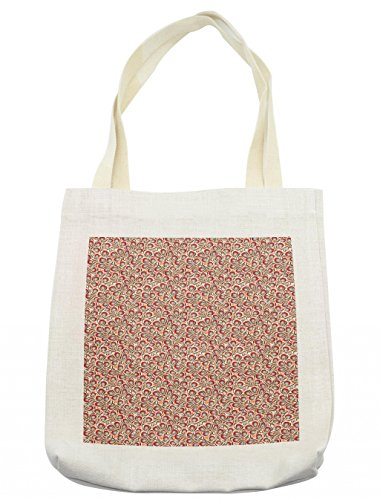 Lunarable Floral Tote Bag, Vibrant Petals Harvest Season with Antique Arabian Folklore Motifs Moroccan Effects, Cloth Linen Reusable Bag for Shopping Groceries Books Beach Travel & More, Cream by Lunarable