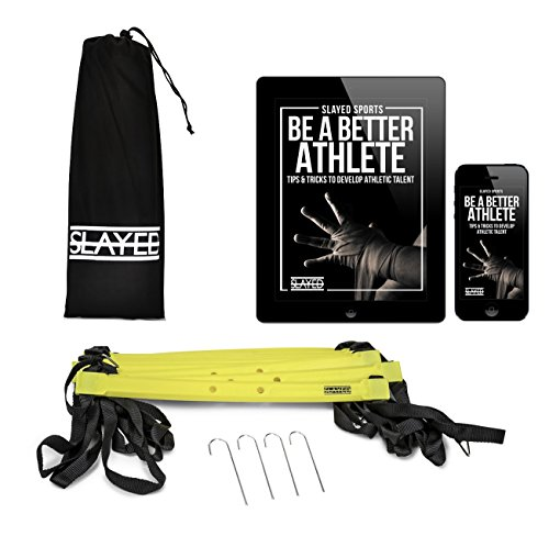 AGILITY LADDER (15FT) by Slayed Sports | Workout Equipment Includes Metal Pegs, Carry Bag, and BONUS E book with Video of Agility Drills and Athletic Development Tips |