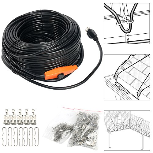 9milelake Heat Roof Gutter De-icing Ice Snow Melter Cable Tape Kit - 200ft ,With Thermostat: On:6±3℃ Off:13±3℃ (Roof De Icing Kit)
