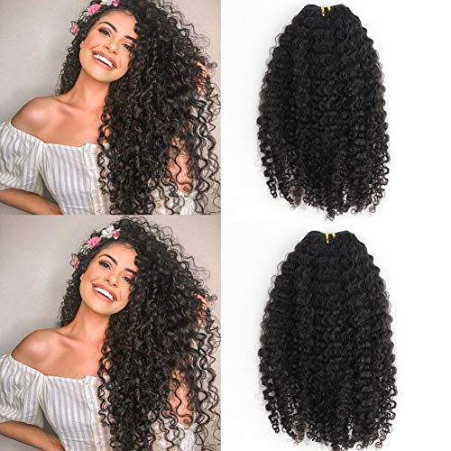 Easen Hair Remy Virgin Clip in Hair Extension 3B 3C Kinky Curly Human Hair Extension Natural Black Color African American Clip On Extensions 7pcs/lot 120grams/set (16inch)
