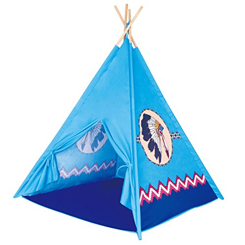 POCO DIVO Apache Turquoise Teepee Indian Tribe Tent Kids Indoor Playhouse Children Outdoor Play Castle Toy Tipi with Wooden - Hut The Indian
