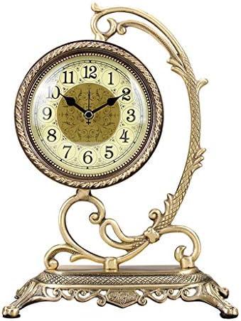デスククロックメタル置時計ヨーロッパのレトロなリビングルームの寝室の卓上装飾ミュートクロックノンチックデスククロック