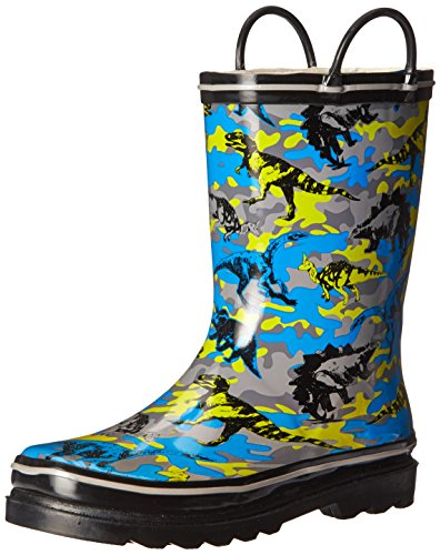 Western Chief Boys Waterproof Printed Rain Boot with Easy Pull On Handles, Hidden Dinos, 8 M US Toddler