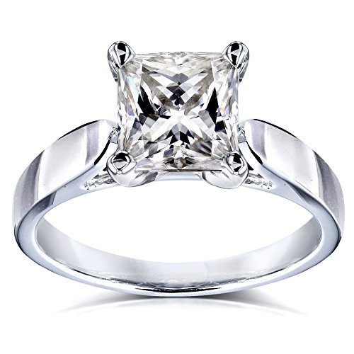 Princess Moissanite Solitaire Peg Head Cathedral Engagement Ring 1 1/2 Carat 14k White Gold, 4.5 Cathedral Solitaire Engagement Ring