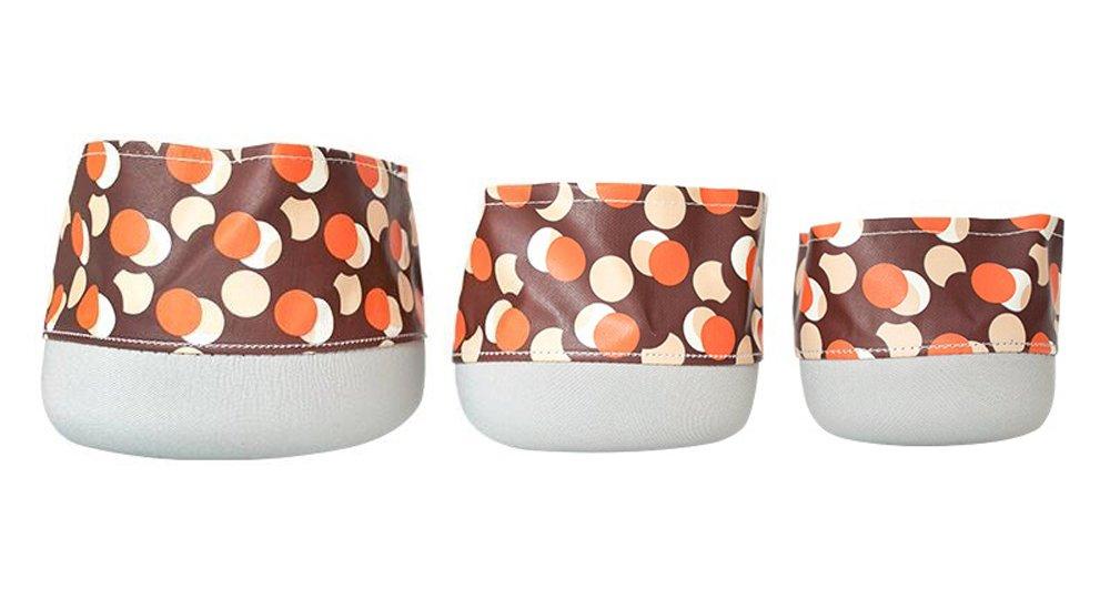 Multifunctional Waterproof Round Desktop Storage Basket Planters Set of 3 (Brown/Dot)