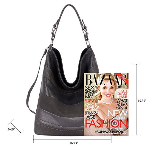 e900c908b487 DAVID - JONES INTERNATIONAL Womens Soft Faux Leather Bucket Bag Large Hobo  Tote Grey Purse Handbags