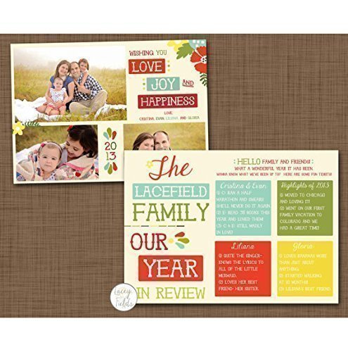 year in review christmas card set of 10 double sided christmas card new year card - Year In Review Christmas Card
