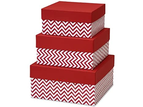 Amazon.com: Cajas de regalo con tapas, set / 3, color rojo ...