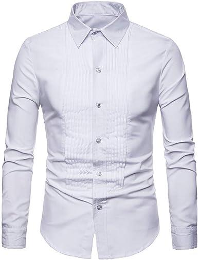 Nuevos hombres simples camisas caballeros color puro vestido ...