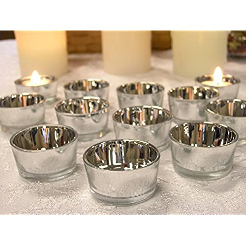Wedding candle light centerpieces amazon silver glass tea light candle holders set of 24 metallic silver candle holders wedding centerpieces silver decorations 25th anniversary junglespirit Gallery