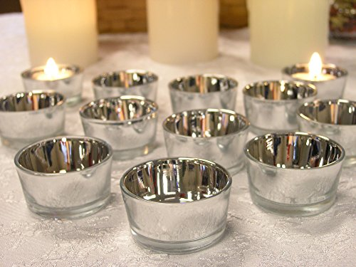 Silver Glass Tea Light Candle Holders - Set of 24 - Metallic Silver Candle Holders - Wedding Centerpieces - Silver Decorations - 25th Anniversary Decorations - Glass Candle Holders