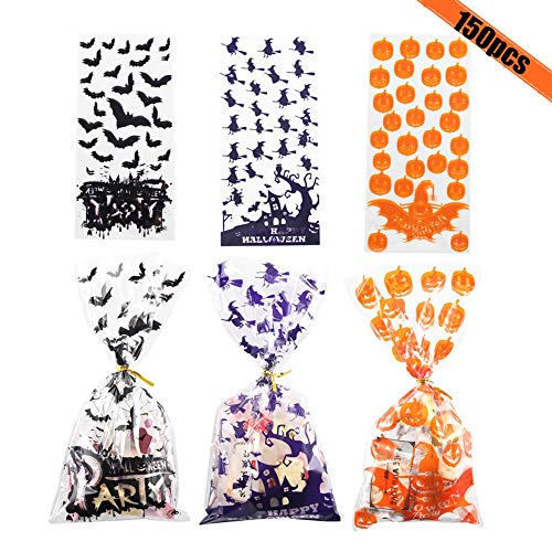 Diy Halloween Party Snacks (150 PCS Halloween Cellophane Snack Bags Clear Candy Cookie Treat Bags with Twist Ties for Bakery Biscuit Chocolate Snacks Halloween Party Favors Homemade)
