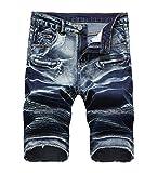 Enrica Men's Casual Zipper Biker Jeans Shorts Moto Denim Short Pants