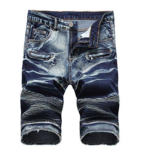 - Enrica Men's Casual Zipper Biker Jeans Shorts Moto Denim Short Pants, Retrol Blue, 32