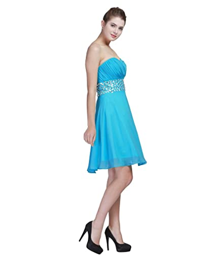 FAIRY COUPLE Chiffon Party Homecoming Dresses Strapless D0123 - Blue -: Amazon.co.uk: Clothing