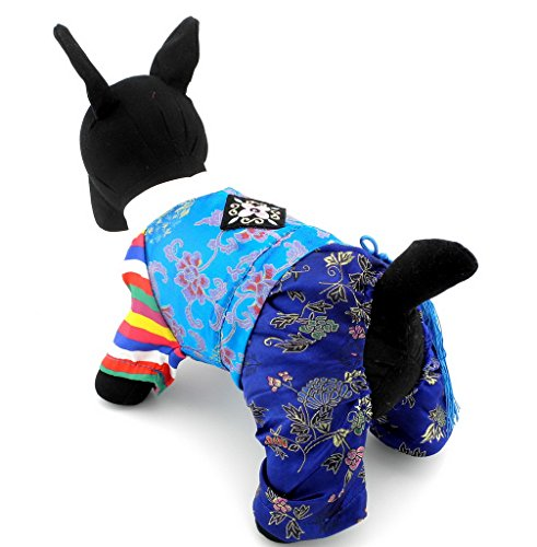 Ranphy Traditional Embroidered Korean Small Dog/Cat Hanbok Pet Jumsuit Holiday Costume Pet Wedding Clothes Silk Boy XS