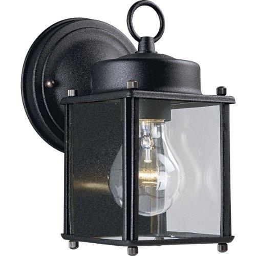 Progress Lighting P5607-31 Wall Lantern with Clear Glass, Black