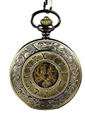 Mudder Vintage Chain Brass Mechanical Movement Pocket Watch for Men and Women