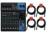 Yamaha MG10XU 10 Channel Mixer w/FX + 4x 20ft Microphone XLR Cables