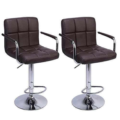 Bar Stool with Arms 2 PCS Square PU Leather Cushion Counter Height Chairs 360 Degree Swivel Brown