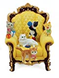 MusicBox Kingdom Wing Chair with Playful Cats Decorative Box