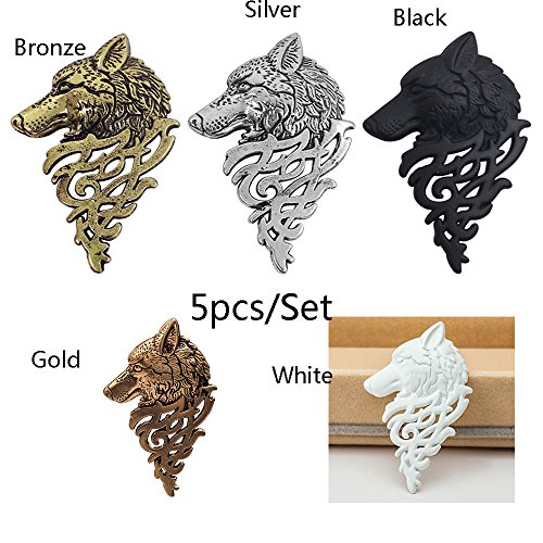 5 Pcs/Set Vintage Alloy Wolf Head Brooches Suit Collar Pin Jewelry Men Gifts ()