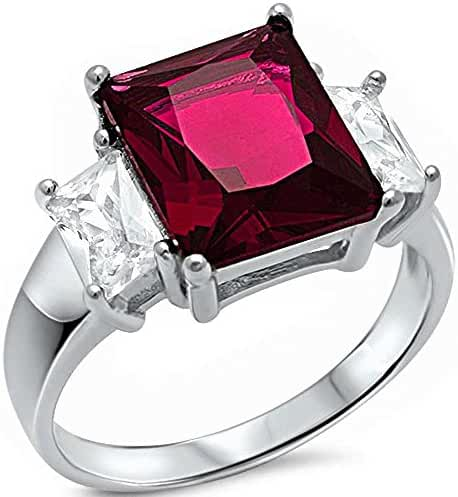 Radiant Cut Simulated Ruby & Cubic Zirconia .925 Sterling Silver Ring Sizes 5-10