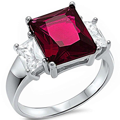 - Radiant Cut Simulated Ruby & Cubic Zirconia .925 Sterling Silver Ring Size 6