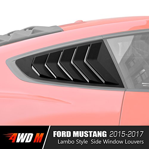 Matte Black GT Lambo Style Quarter Side Window Scoop Louvers for Ford Mustang 2015 2016 2017