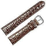 Alligator Grain Watch Band (Silver & Gold Buckle) - Brown 20mm
