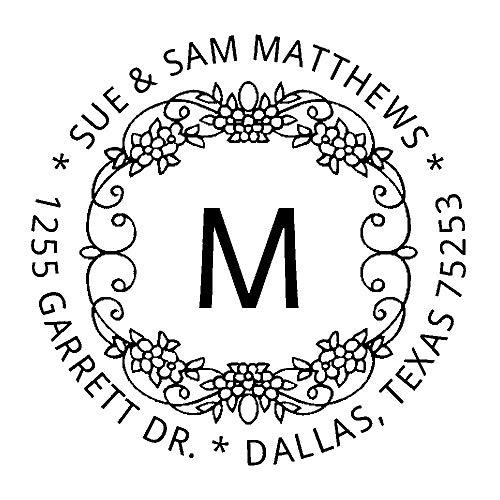 Trodat Printy 4642 Personalized Individual Custom Grapevine Name and Return Address Round Monogram Self Inking Stamp (1-5/8