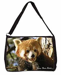 Red Panda Bear 'Love You Mum' negra grande del ordenador portátil bolsa de regalo de Navidad