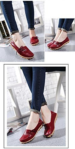 FAYALE Women Comfortable Lace-Up Loafer Hand made Flats Pumps Wine Red 7Qnf7E