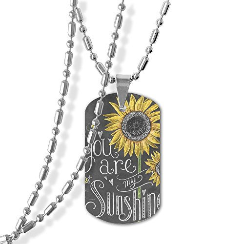 Sunflower Chalkboard Dog Tag Pendant Necklace,23 Inch Chain,Zinc Alloy