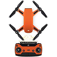 SopiGuard Matte Orange Fiber Precision Edge-to-Edge Coverage Vinyl Sticker Skin Controller 3 x Battery Wraps for DJI Spark