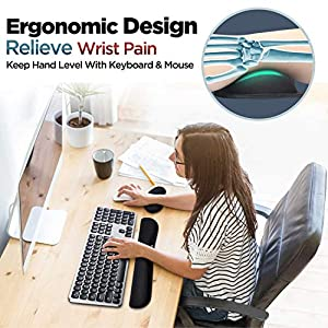 Gimars Upgrade Enlarge Gel Memory Foam Set Keyboard Wrist Rest Pad, Mouse Wrist Cushion Support for Office, Computer, Laptop, Mac, Comfortable, Lightweight for Easy Typing  Pain Relief, Black