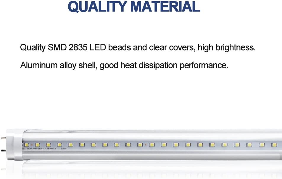 Dual-End Powered Clear Cover 40W Equivalent 5000K Daylight White Warehouse Fluorescent Replacement Shop Light YGS-Tech 4FT T8 LED Tube Light 4 Pack Garage Light Ballast Bypass 18W