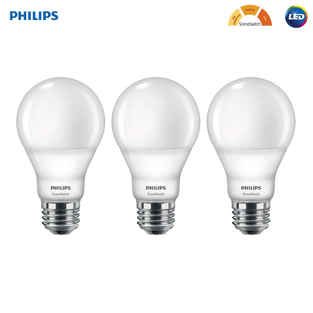 Philips LED 464933 60W Equivalent SceneSwitch Brightness A19 LED Light Bulb, Frustration Free 3 Pack, 3-Pack, Soft White with Warm Glow, 3 Piece