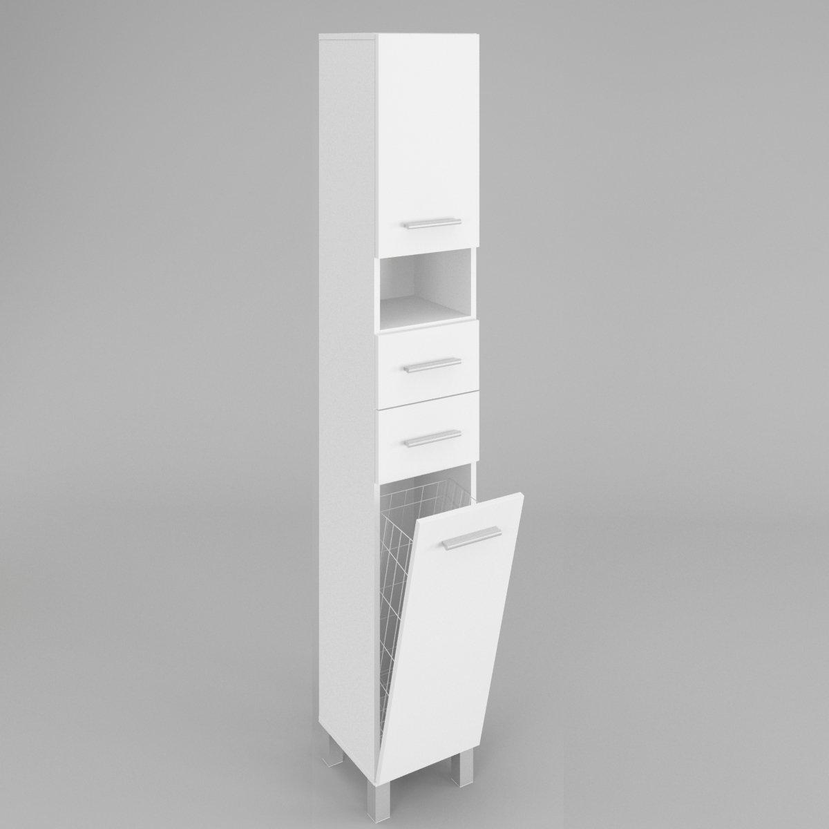 Badezimmerschrank Badmöbel HOCHSCHRANK SW4 mit wäschekorb in Weiß ...