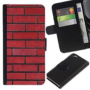 iKiki Tech / Cartera Funda Carcasa - Wall Red Rebel Pattern Law Floyd - Apple iPhone 6